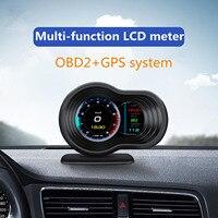 Pantalla frontal para coche F9 de 3,5 pulgadas, odómetro Digital, velocímetro de voltaje y temperatura del agua, pantalla HUD OBD2 + GPS