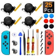 25 em 1 venda quente peças de reparo 3d vara de polegar analógico para nintend switch ns joy-con bonés de joystick substituição controlador kit