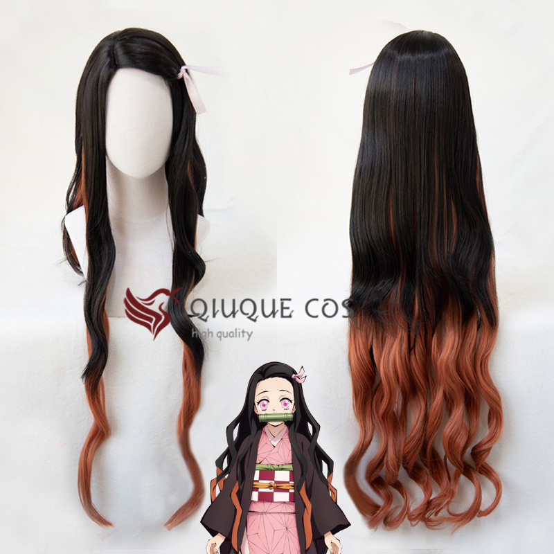 42'' 105cm Long Demon Slayer Nezuko Kamado Cosplay Wigs Kimetsu No Yaiba Heat Resistant Hair Cosplay Costume Wigs + Free Wig Cap