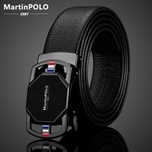 MartinPOLO Genuine Leather Belt men Automatic Alloy Buckle Belts Luxury Cowskin Strap For jeans Black Belt For Men MP02901P