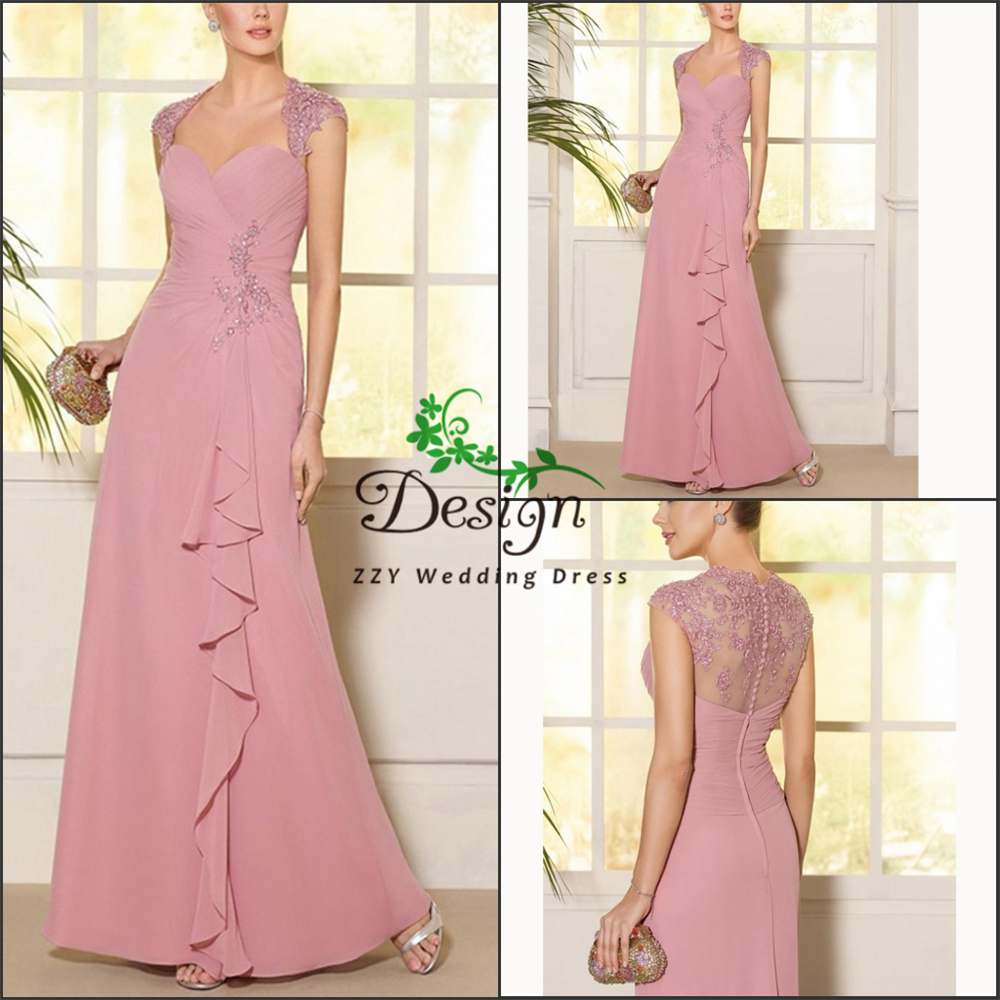 Cap Sleeves Chiffon Appliques Beading Sheath Pleat Tassel Illusion Mother Of The Bride Dresses Dinner Dresses For Women