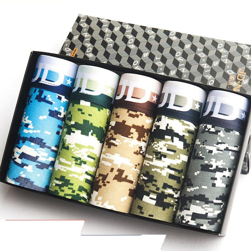 5Pcs/lot Colorful Print Boxer Men Underwear Breathable Cotton Briefs Men Camouflage Shorts Underpants Male Boxershorts Panties