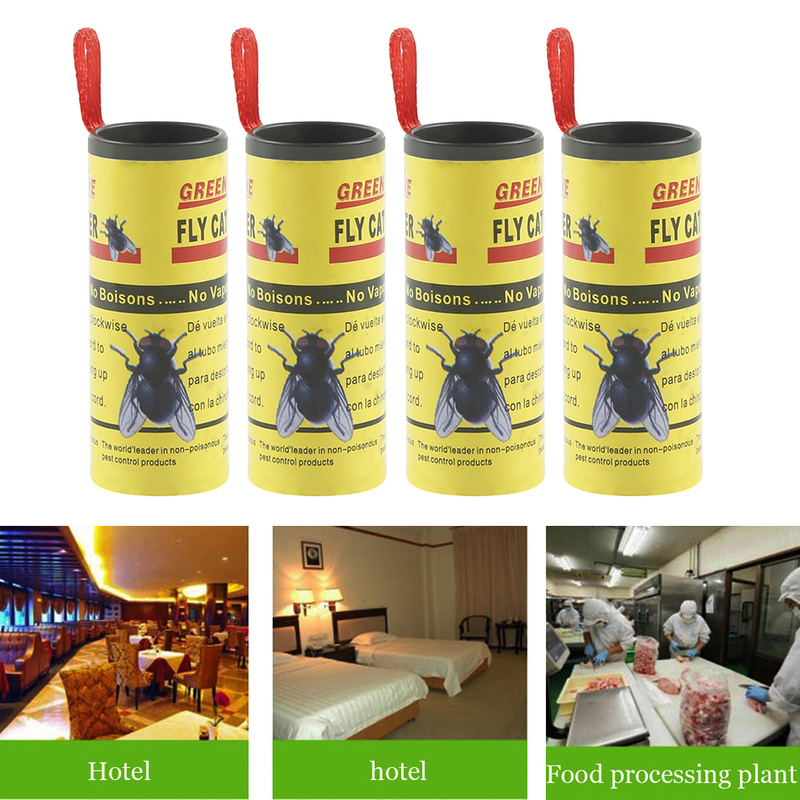 4 Rolls Sticky Fly Paper Home Room Fly Glue Eliminate Flies Insect Bug Glue Paper Catcher Trap Flying Bugs Insects Traps