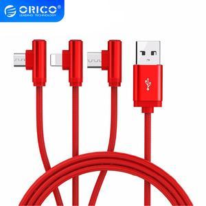 ORICO 3 en 1 Cable USB para teléfono móvil Micro USB tipo C Cable cargador para iPhone Samsung 6X7 8 10 Cable de carga xiaomi