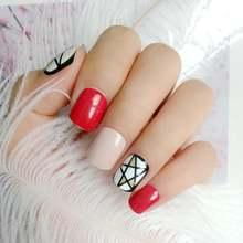 24 шт накладные ногти темно красного цвета