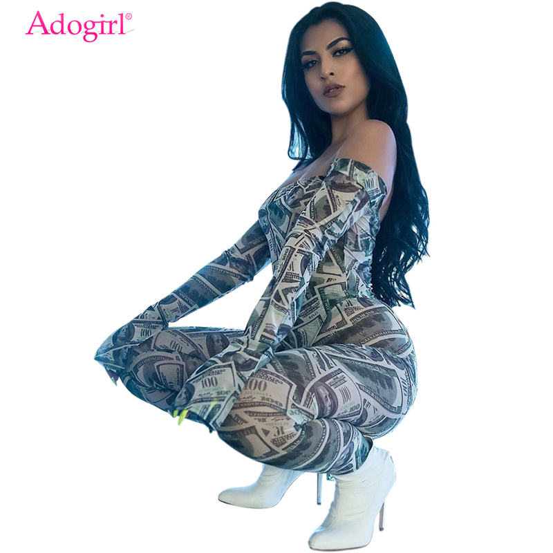 Adogirl Money Dollar Print Sexy Two Piece Set Off Shoulder Long Flare Sleeve Bodysuit Top + Pencil Pants Women Night Club Outfit