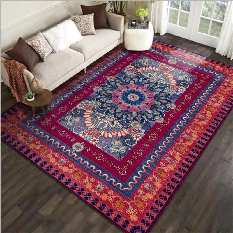 tapis vintage pour salon motif ethnique persan violet rouge tapis de noel tapis de sol accessoires de table de salon