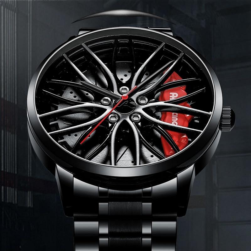 NIBOSI Creative Car Wheel Watch Waterproof Create Watches Rim Hub Watch Custom Design TE37 Car Wristwatch 2020 Relogio Masculino