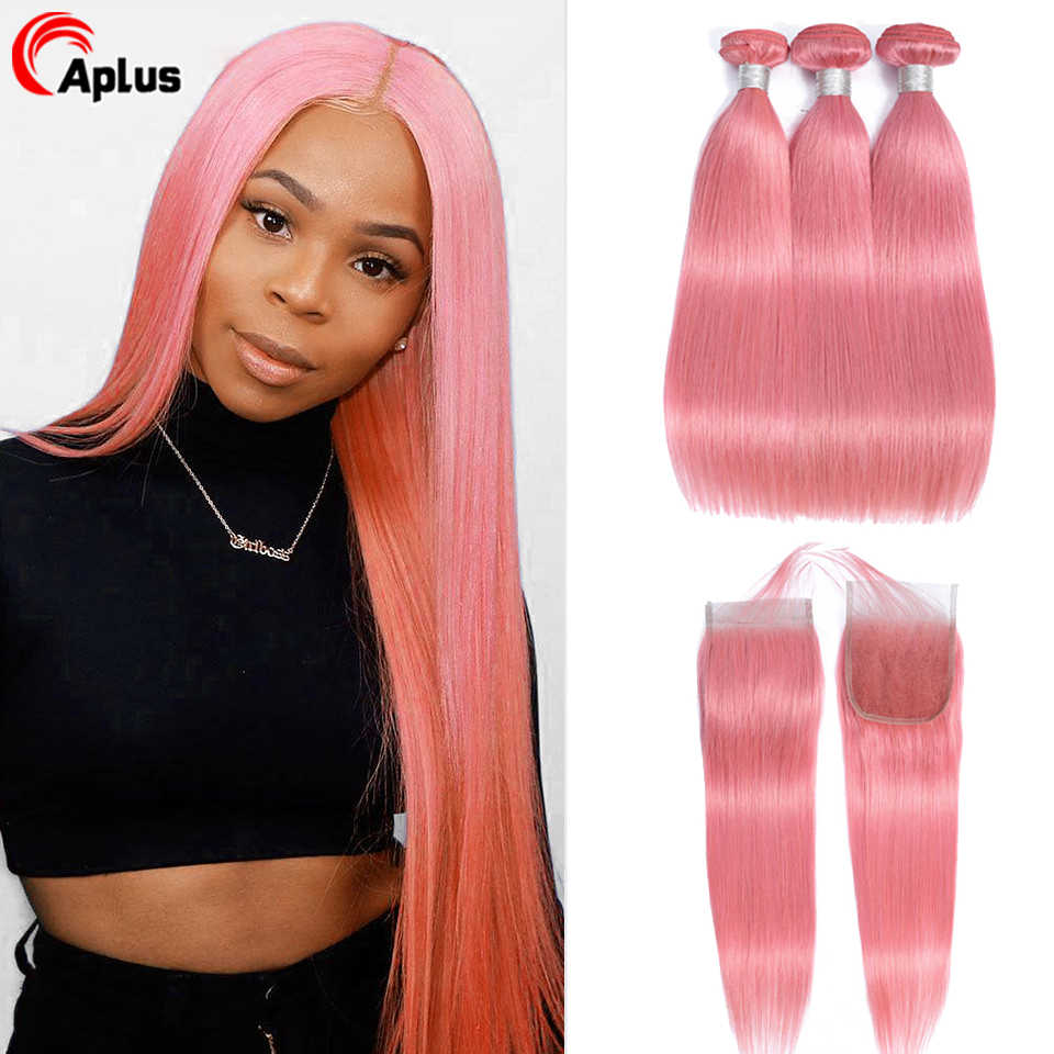 Aplus Hair Pink Bundles With Closure Pre Colored Rose Straight Remy Peruvian Human Hair Bundles With Lace Closure With Baby Hair
