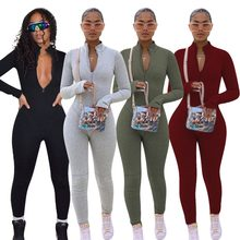 Fixsys mangas compridas preto macacão feminino zip frente plus size macacões uma peça sexy macacão feminino clube outfits yd8352