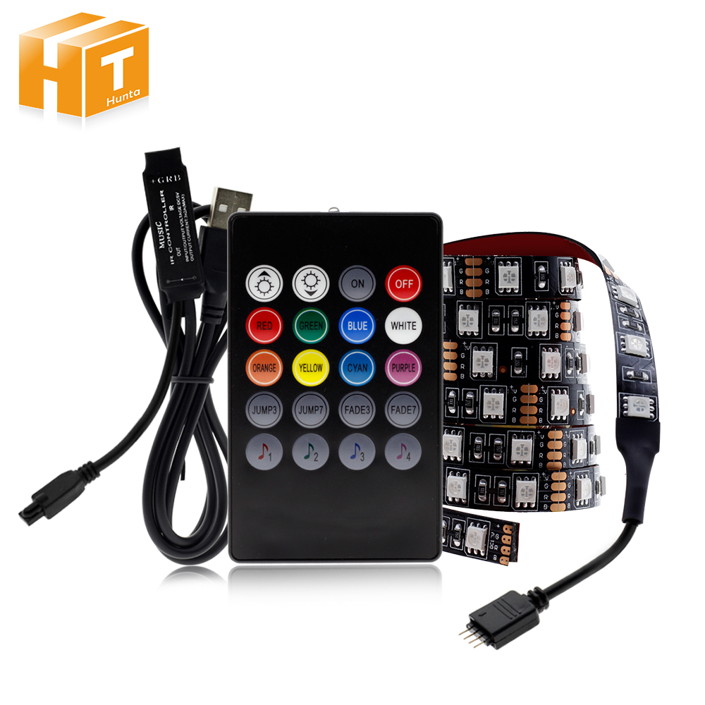 <font><b>USB</b></font> LED Strip 5050 RGB Changeable LED TV Background Lighting 50CM 1M 2M 3M 4M 5M DIY Flexible LED Light. image
