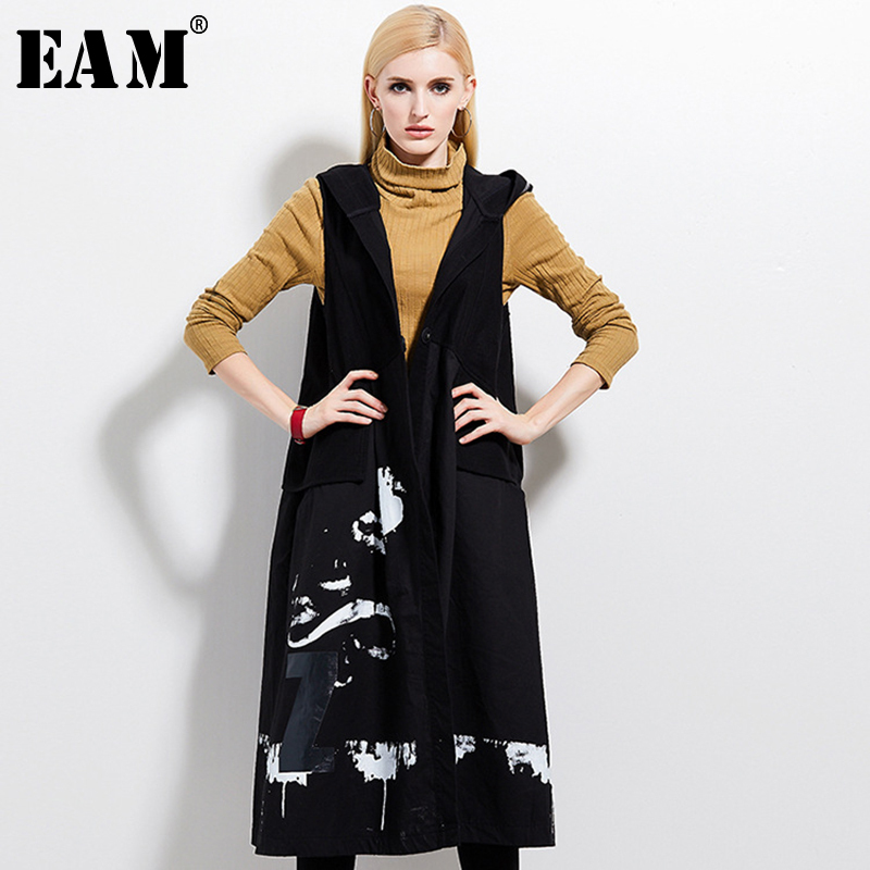 [EAM] Women Loose Fit Spliced Denim Big Size Vest New Turn-down Collar Sleeveless Fashion All-match Spring Autumn 2019 JZ141