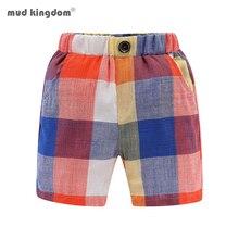 Boys Summer Shorts Plaid Cotton Elastic-Waist Rainbow-Color Casual Classic Mudkingdom