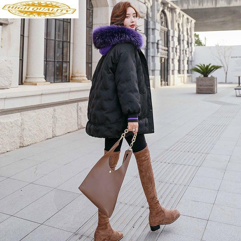 White Duck Down Jacket Women Raccoon Fur Collar Down Coat Puffer Jacket Winter Coat Women Warm Parka Casaco 8525 YY1228