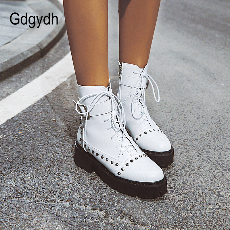 Gdgydh Sexy Rivet Military Boots Women Lace Up Black Leather Ankle Boots Mid Heel Goth Style Short Boots for Autumn High Quality 4