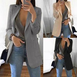 Autumn Lady Young Women Elegant Jacket Blazer 2020 Fashion Solid Slim Casual Business Blazer Suit Coat Outwear Khaki Gary Black