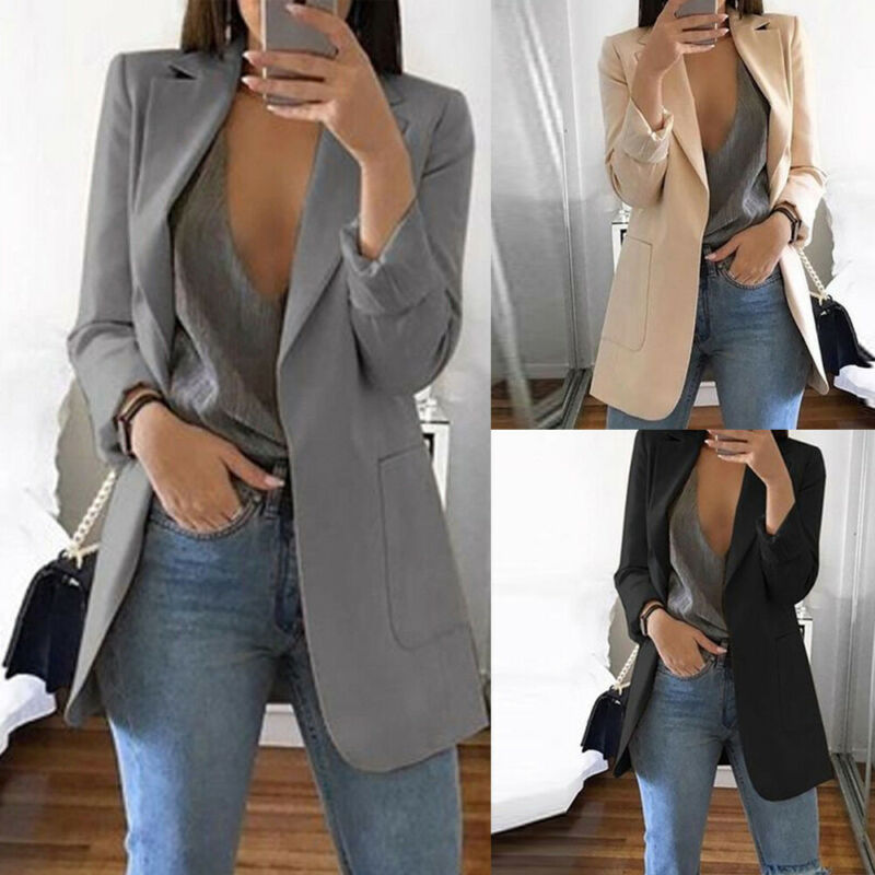 New Solid Style Lady Young Women Elegant Fashion Slim Casual Business Blazer Suit Jacket Coat Outwear Khaki Gary Black