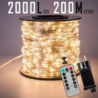 Tira de luces de hadas de alambre plateado, 120M, 1200LED, resistente al agua, enchufable para árbol, exterior, Navidad, vacaciones, boda, decoración de jardín