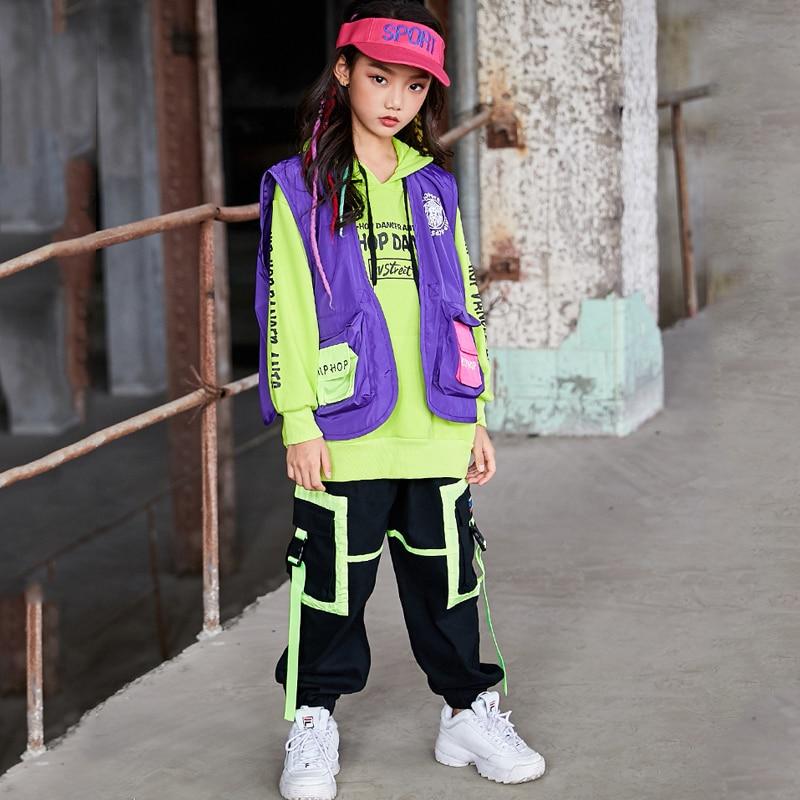Children Hip Hop Dance Costumes Kids Street Dancewear Jazz Modern Dance Clothes Sweatshirt Hiphop Pants Rave Outfits DQS3354