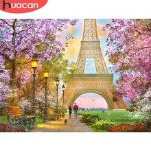 HUACAN – peinture de diamant 5D, paysage de Paris, tour Eiffel, perceuse complète, Art strass, broderie en point de croix, décor de maison