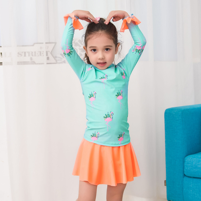 Korean-style KID'S Swimwear Girls Fashion Cute Cartoon Flamingo Sun-resistant Long Sleeve Baby Princess Dress Split Type Swimwea