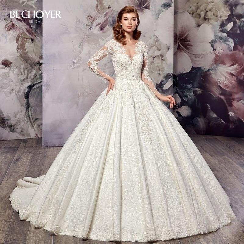 Luxury Beaded Appliques Wedding Dress BECHOYER AX16 Sexy Illusion Lace A-Line Long Sleeve Princess Bride Gown Vestido De Noiva