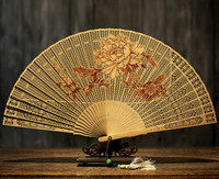 Classical In National Customs Suzhou Sandalwood Fan Hollow Out Gift Fan Wenwan Arts And Crafts Sandalwood Fan