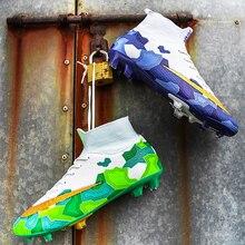 Новый Открытый Длинные Шипы Мальчики Футбол Обувь Водонепроницаемый Нескользящие Ботинки Футбола Обучение Высокого Лодыжки Кроссовки Мужская Спортивная Унисекс