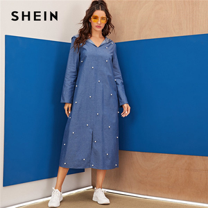 Image 1 - שיין כחול העבאיה פניני חרוזים פיצול Hem ינס הסווטשרט שמלת נשים סתיו ארוך שרוול מוצק Loose מקרית ארוך שמלות
