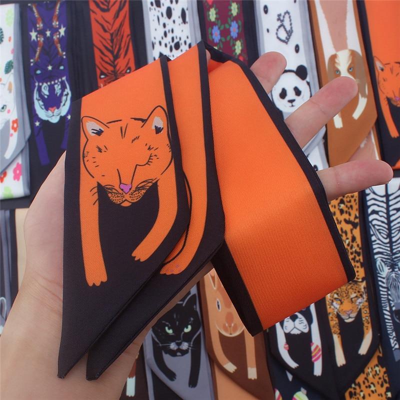 17 cores saco de impressão animal magro lenço de seda para mulheres multifunções marca de luxo feminino gravata moda cabeça cachecóis para senhoras wp08