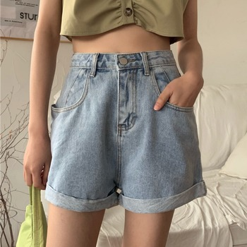 Summer Jean Shorts Women New Korean-Style Womens Clothing Loose High Waist Wide Leg Denim Shorts Women's Clothing & Accessories