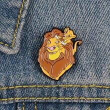 Брошь в виде мультяшного льва для рюкзака, Холщовая Сумка для женщин, значок на рубашку, эмалированная брошь на булавке для мужчин, Металлич...