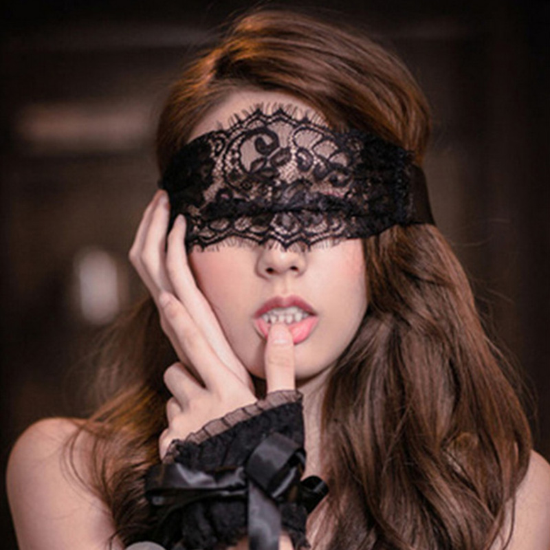 Fashion Women Sexy Patch And Bracelets Black Lace Mask Hollow Perspective Alluring Eyeshade Handcuff Ladies Sex Toys-35