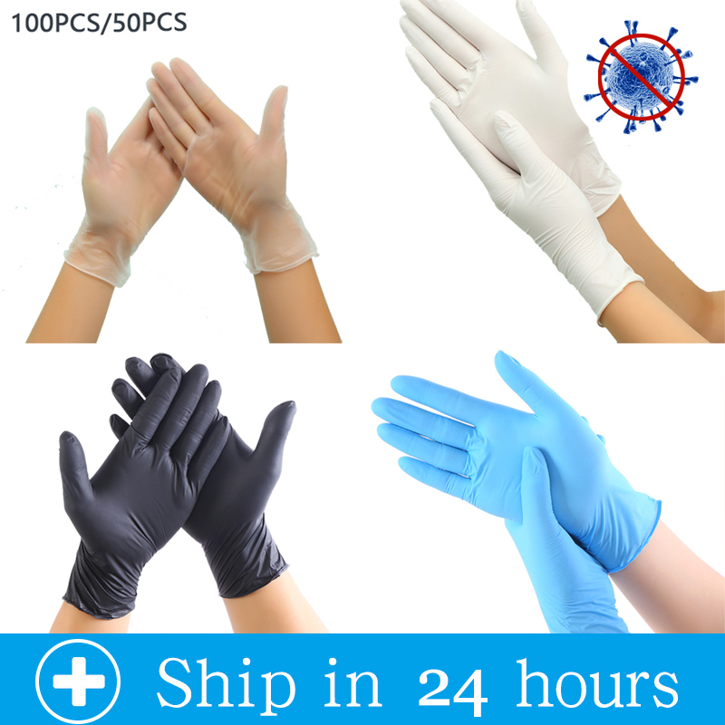 100pcs Disposable Latex Gloves White Bule Non-Slip Acid And Alkali Laboratory Rubber Latex Gloves Household Cleaning Products