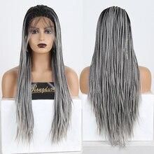RONGDUOYI Омбре серый плетеный ящик косички парики для женщин Длинные Синтетические кружева спереди парик два тона серый цвет термостойкий парик