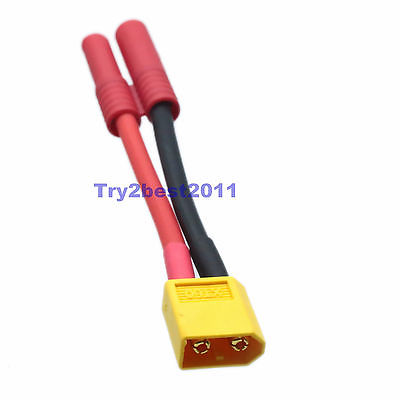 DHL/EMS 50 Sets New XT60 XT-60 Male To 4MM Bullet Connector Adapter 12awg Fr RC HXT -C1