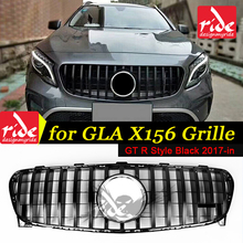 GT R Style Front Grille X156 GLA45AMG Look Black Fits For MercedesMB GLA class GLA200 GLA250 Sports grills without sign 2017-in