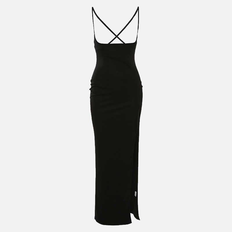 サイドスプリットマキシ女性のドレス黒ハイセクシーな女性のドレス 2020 春夏パーティーファッションレディー vestidos