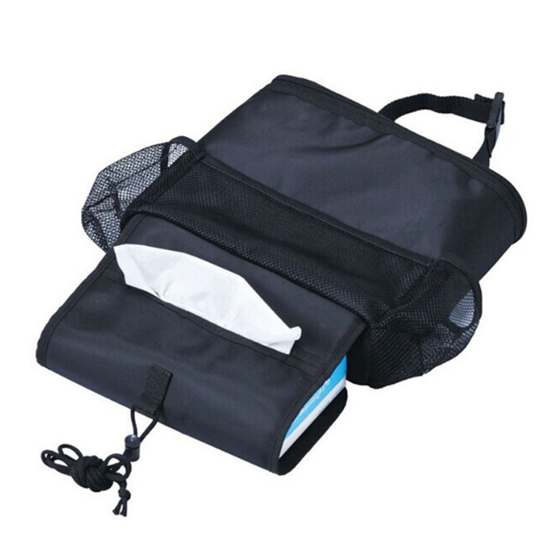 Storage For The Car Back Seat With Insulated Compartment Containing A Cool Bag