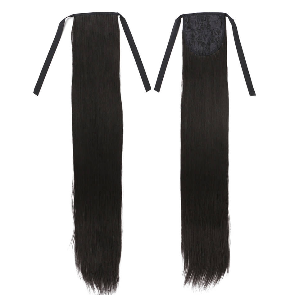 55cm Synthetic Ponytail Hair Pieces Heat Resistant Fiber Straight Ribbon Clip In Hair Extension