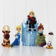 6 sztuk księżniczka figurki Anna Elsa Kristoff Snowman Olaf renifer Sven zamek schowek Model animacji zabawki