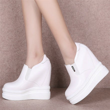 Fashion Sneakers Women Genuine Leather Platform Wedges High Heel Ankle Boots Female Round Toe Punk Trainers Casual Pumps Shoes outdoor creepers women cow leather wedges high heel party pumps punk goth tennis shoes round toe platform oxfords trainers shoes