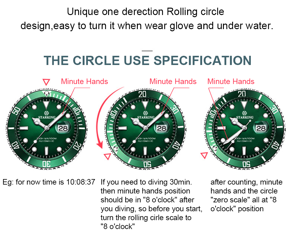 Starking relógio masculino resistente à água quente