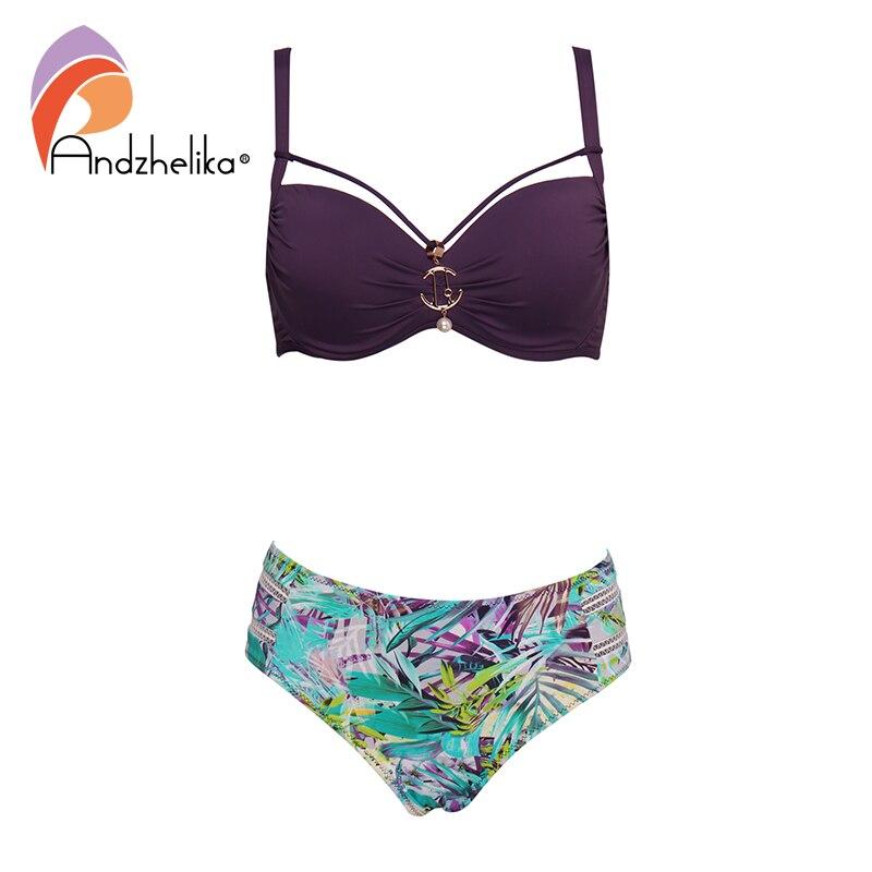 Andzhelika  Floral Print High-Waisted Bikini Set Sexy Push Up Swimsuit Metal Brooch Plus Size Swimwear 2020 Women Bathing Suit