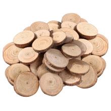 100 sztuk 1 5-3CM drewniane elementy płyty dla DIY rzemiosła dekoracje ślubne tanie tanio CN (pochodzenie) Wood slices Wood discs Log slices Log discs DIY wood slices