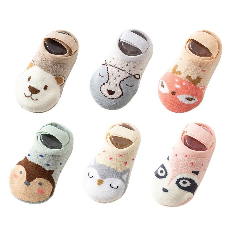 1 Pair Fashion Baby Girls Boys Cute Cartoon Non-slip Cotton Toddler Floor Socks Animal Print First Walker Shoes For Newborns