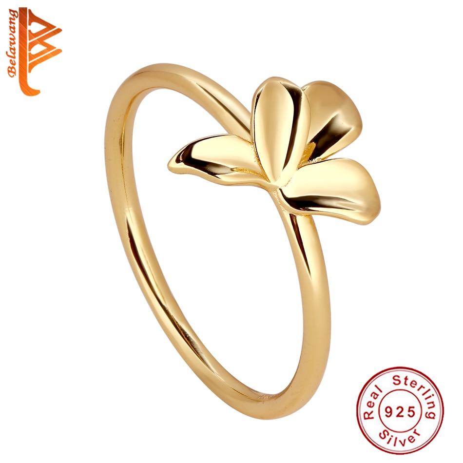 BELAWANG Оригинальное 925 стерлингового серебра бледно-kольцо в форме цветка с 18K позолоченные Нежный Обручальное кольцо для женщин ювелирные из...