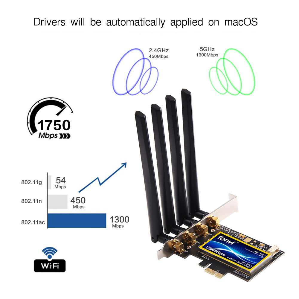 FV-T919 double bande 1750Mbps PCI Express adaptateur sans fil de bureau Broadcom BCM94360 802.11ac pour Hackintosh/Mac OS/Windows