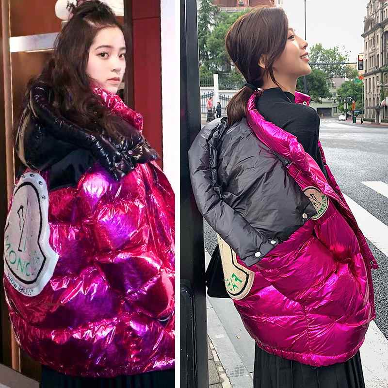 Women Winter Silver Down Cotton Jacket New Fashion Glossy Purple Big Hooded Thick Shiny Loose Black Warm Parkas Lady Streetwear