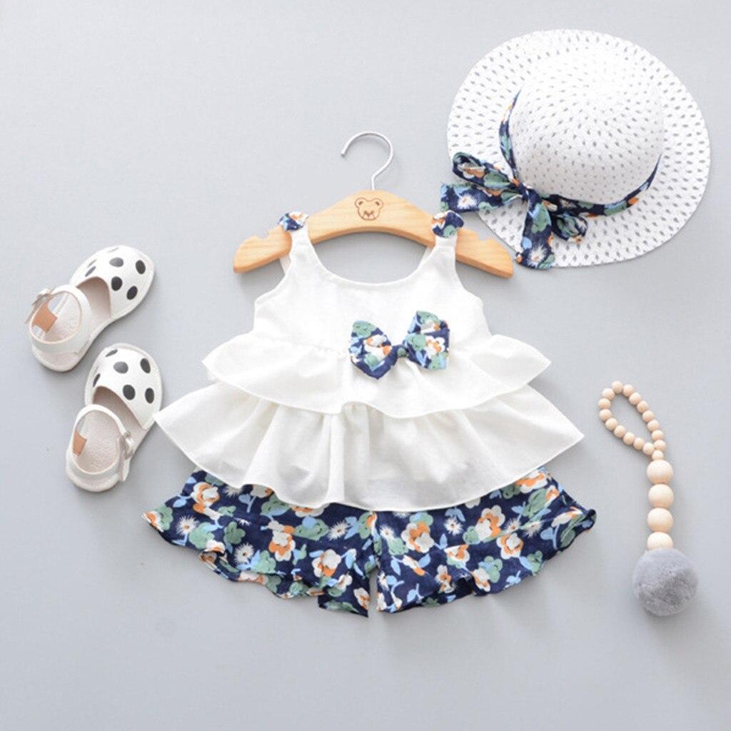 2020 verão infantil do bebê meninas sem mangas arco babados topos + floral impressão shorts + chapéu outfits meninas festa crianças tule tutu vestido crianças